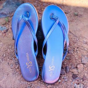 Yosi Samra Flip Flop Amethyst Metallic Leather 8